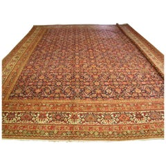 Antique Large Square Navy Blue and Rust All Over Pattern Malayer Rug