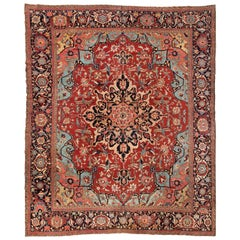 Antique Large Square Persian Red Ivory and Light Blue Serapi Rug