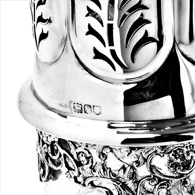 Antique Large Sterling Silver & Cut Glass Caster / Shaker 1901 For Sale 5