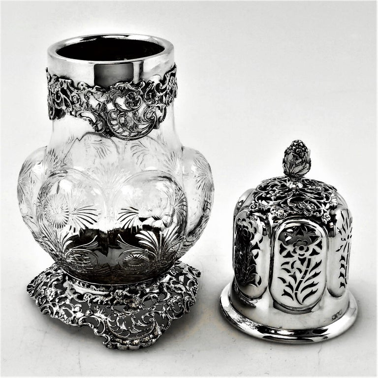 English Antique Large Sterling Silver & Cut Glass Caster / Shaker 1901 For Sale