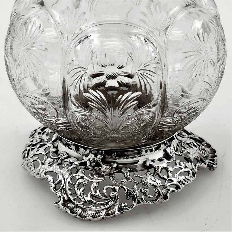 20th Century Antique Large Sterling Silver & Cut Glass Caster / Shaker 1901 For Sale