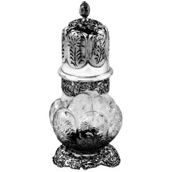 Antique Large Sterling Silver & Cut Glass Caster / Shaker 1901