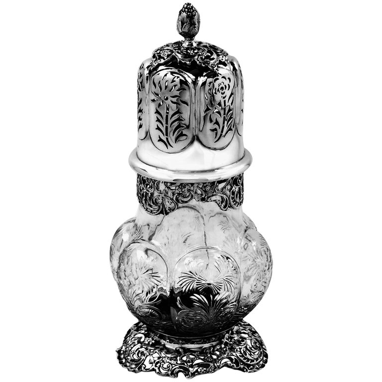 Antique Large Sterling Silver & Cut Glass Caster / Shaker 1901 For Sale