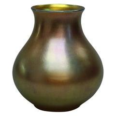 Antique Large Steuben Aurene Bulbous Art Glass Vase, Signed, c1920