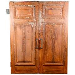 Antique Large Two Panel Oak Doors, 20th Century