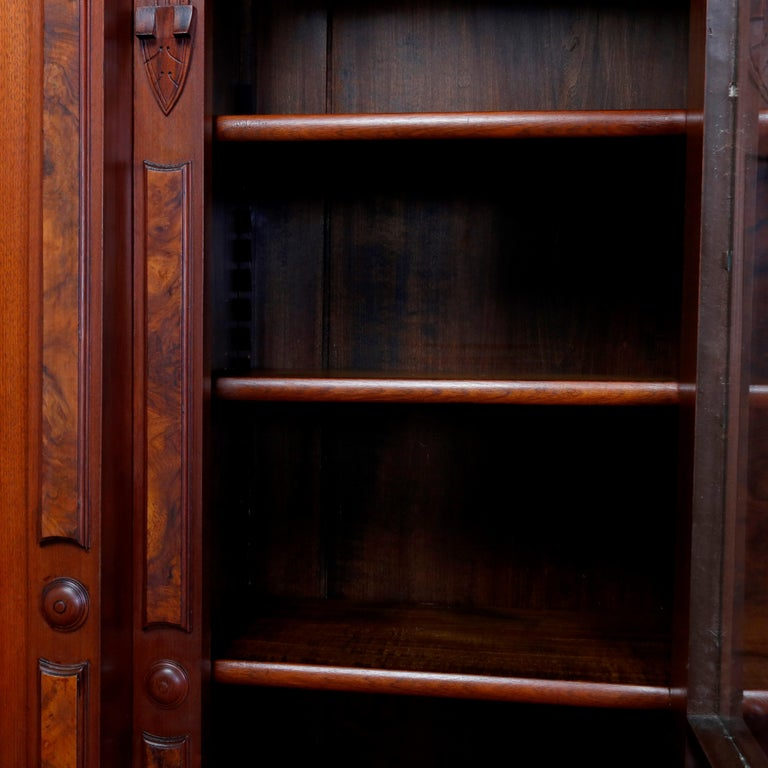 Large Victorian Carved Walnut and Burl Enclosed 3-Section Bookcase, circa 1890 6