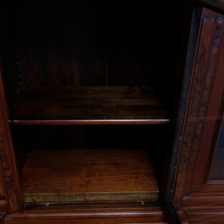 Large Victorian Carved Walnut and Burl Enclosed 3-Section Bookcase, circa 1890 7