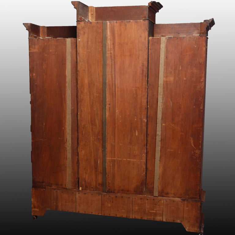 Large Victorian Carved Walnut and Burl Enclosed 3-Section Bookcase, circa 1890 13