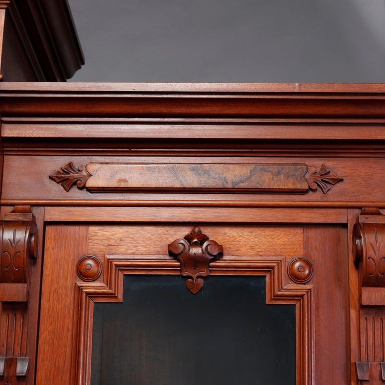 19th Century Large Victorian Carved Walnut and Burl Enclosed 3-Section Bookcase, circa 1890