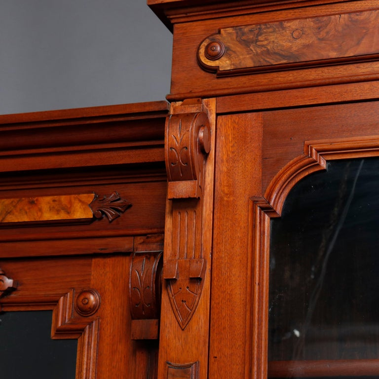 Large Victorian Carved Walnut and Burl Enclosed 3-Section Bookcase, circa 1890 1