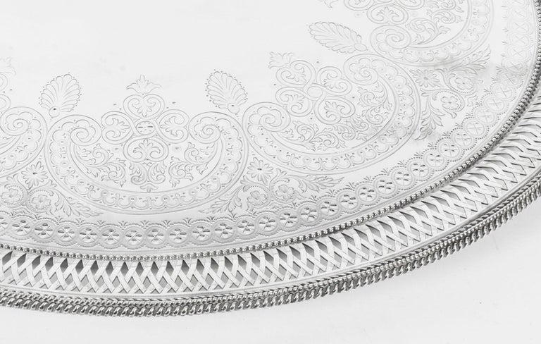 English Antique Large Victorian Silver Plated Twin Handled Tray, 19th Century For Sale