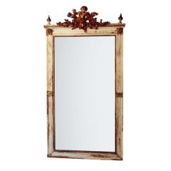 Antique Large Wall Mirror Cherub Detail Creamy White Frame