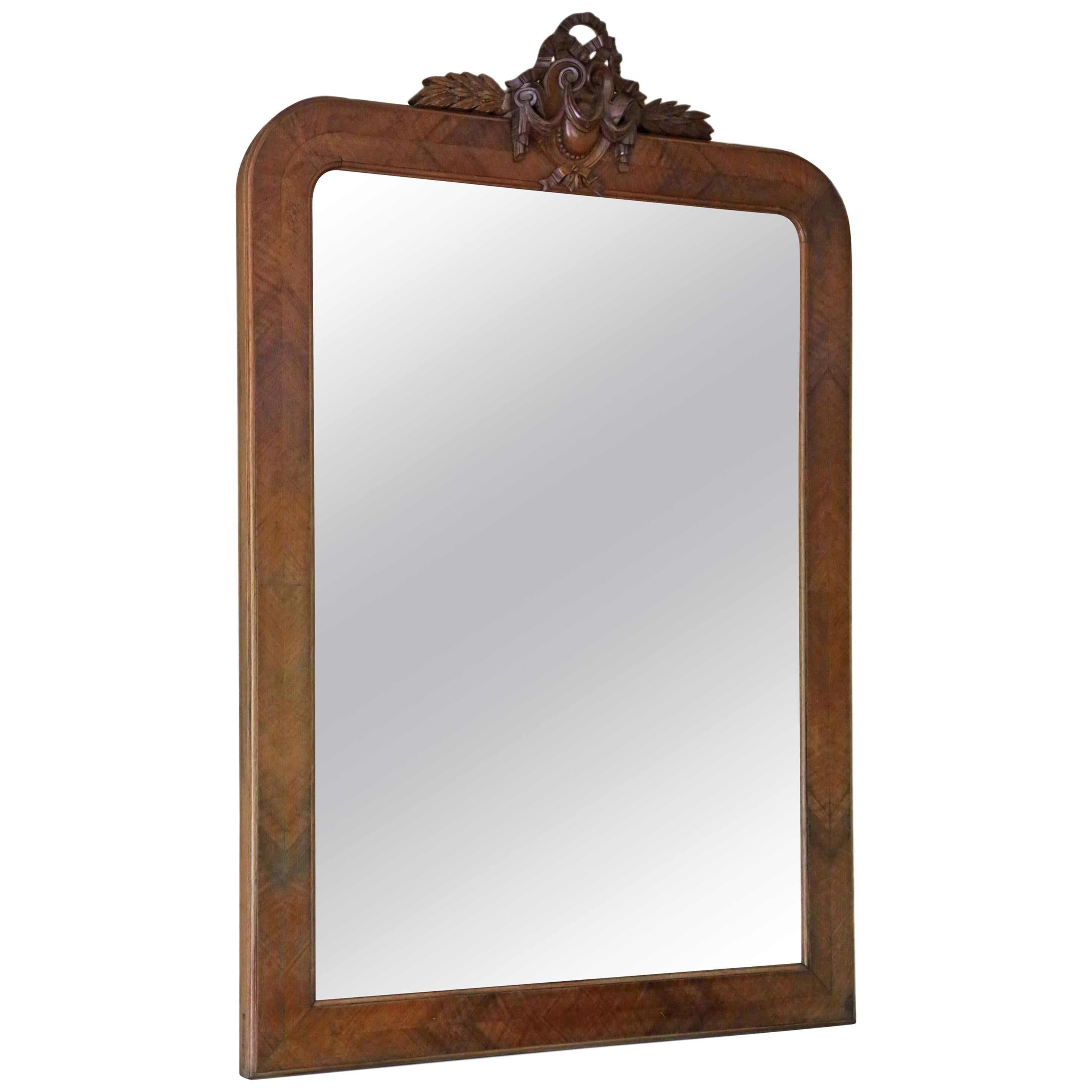 Antique Large Walnut Overmantle Wall Mirror, circa 1900