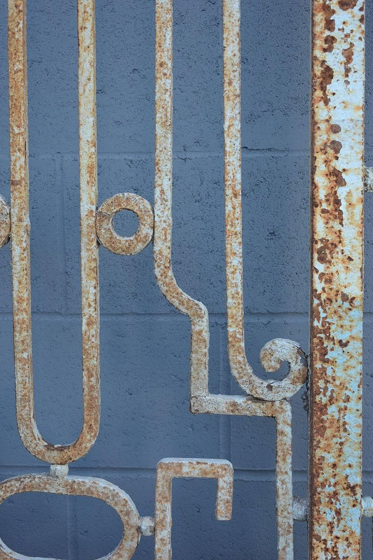 Regency Antique Large Wrought Iron Gate Doors For Sale