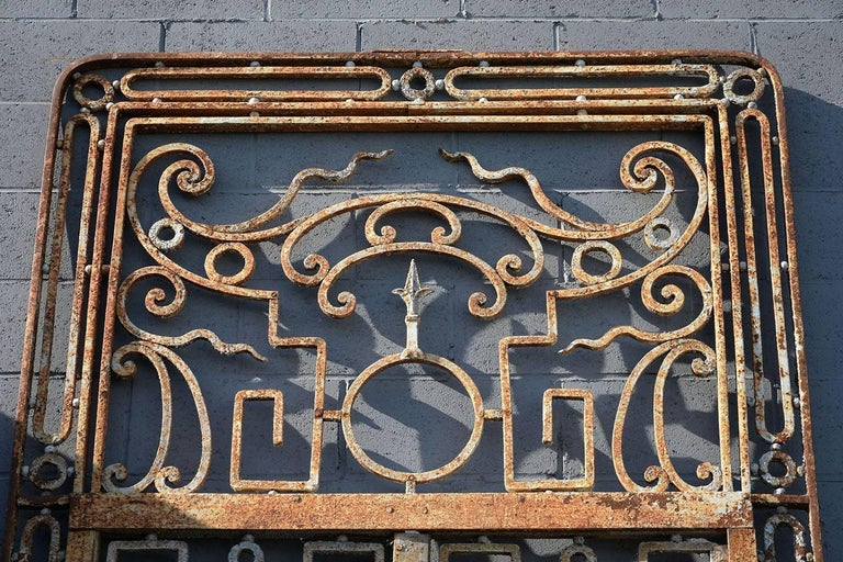 Antique Large Wrought Iron Gate Doors In Good Condition For Sale In Los Angeles, CA