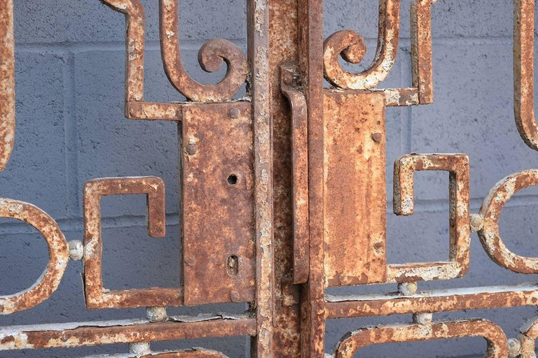 19th Century Antique Large Wrought Iron Gate Doors For Sale