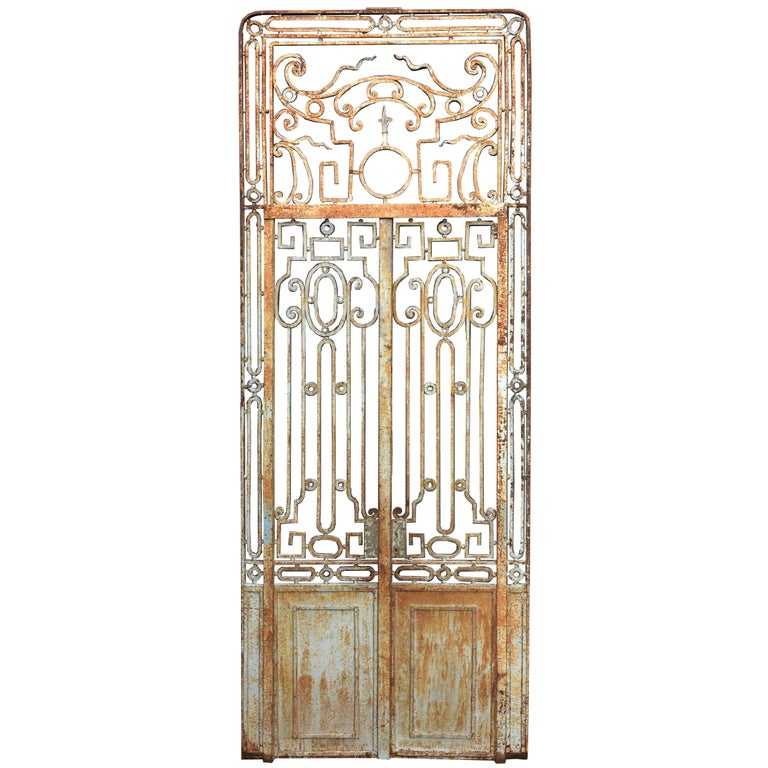 Antique Large Wrought Iron Gate Doors For Sale