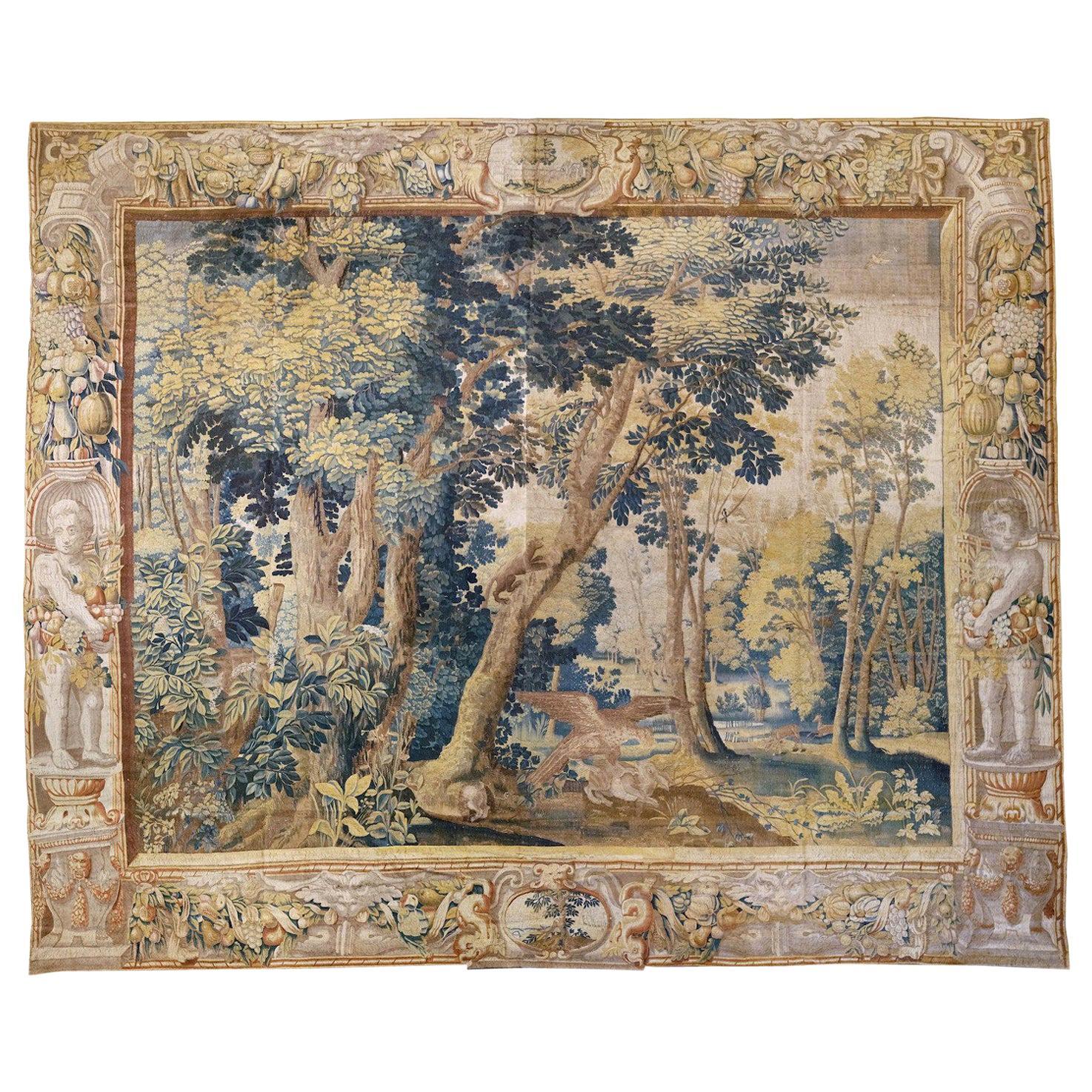 Antique Late 17th Century Antique Franco-Flemish Verdure Landscape Tapestry