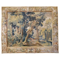 Antique Late 17th Century Antique Franco-Flemish Verdure Landscape Tapestry