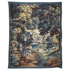 Antique Late 17th Century Flemish Verdure Landscape Tapestry with Fountain