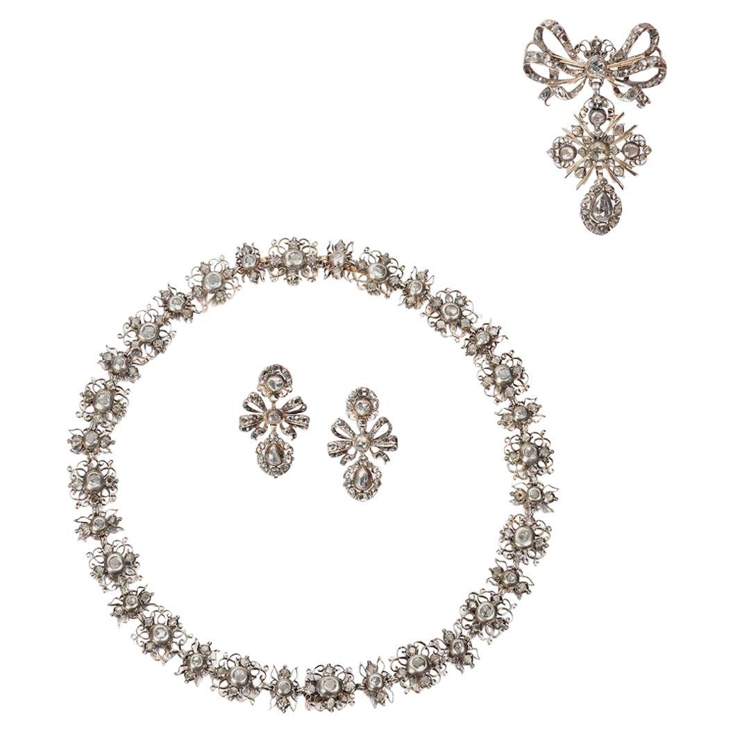 Antique Late 17th-Early 18th Century Diamond Demi-Parure Silver Gold, Portuguese