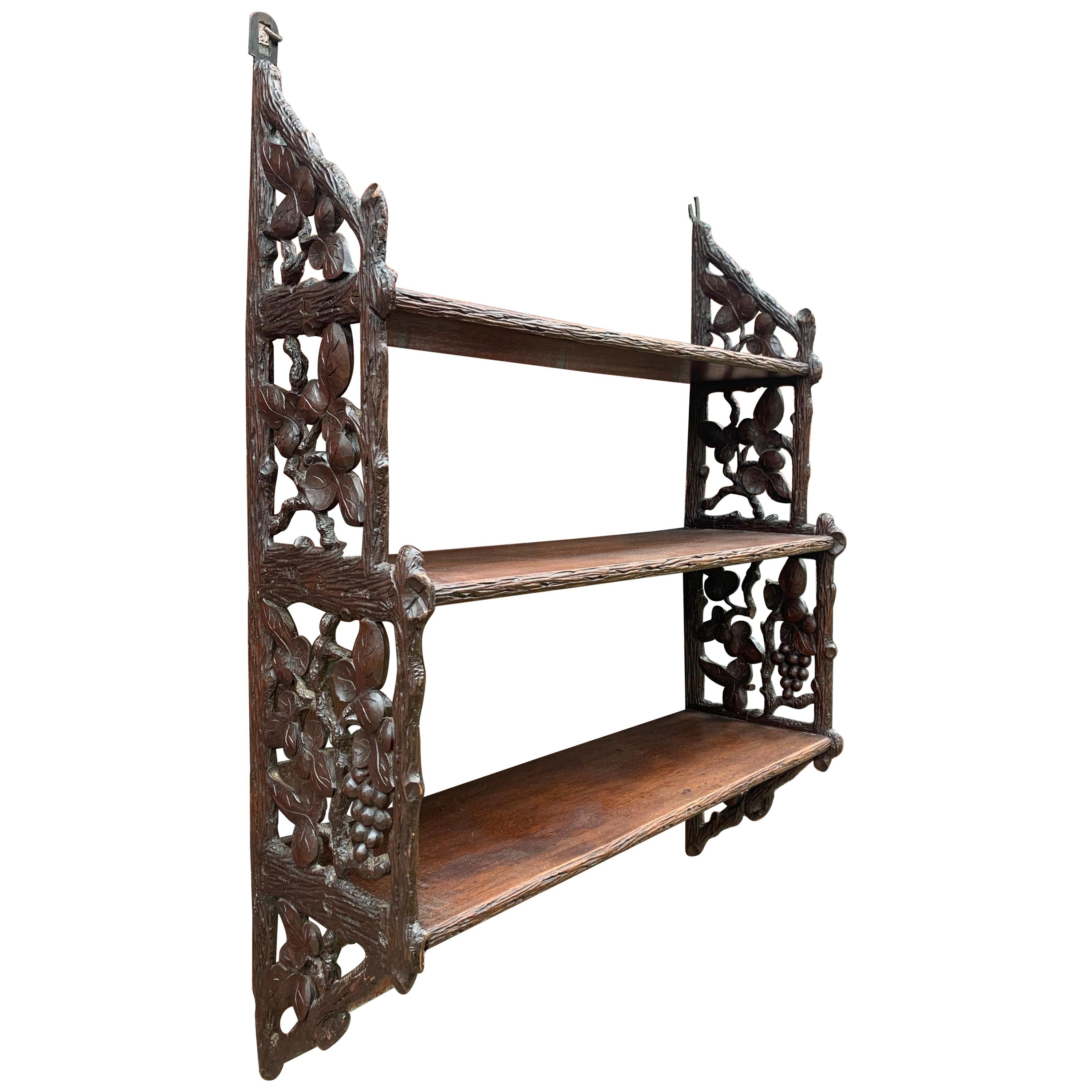 Antique Late 1800s Black Forest Handcrafted Walnut Hanging Wall Shelves / Rack