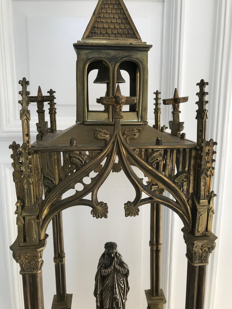 Antique Late 1800s Gothic Revival Bronze W Silvered Mary