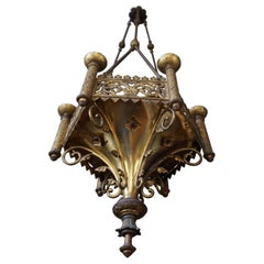 Antique Late 1800s Gothic Revival Gilt Bronze Church Candle Chandelier / Pendant