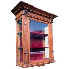 Antique Late 1800s Renaissance Revival Hand Carved Oak Wall Display Cabinet