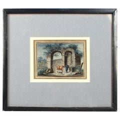 Antique Late 18th-Early 19th Century English Watercolor Painting of Ruins