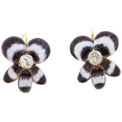Antique Late 19th Century 14 Karat Gold Diamond Enamel Pansy Earrings