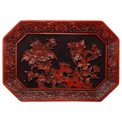 Antique Late 19th Century Chinese Lacquer Cinnabar Carved Tray