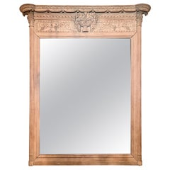 Antique Late 19th Century French Finely Carved Natural Wood Mirror