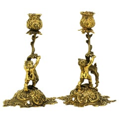 Antique Late 19th Century Hanau Silver Gilt Miniature Candlesticks with Cherubs
