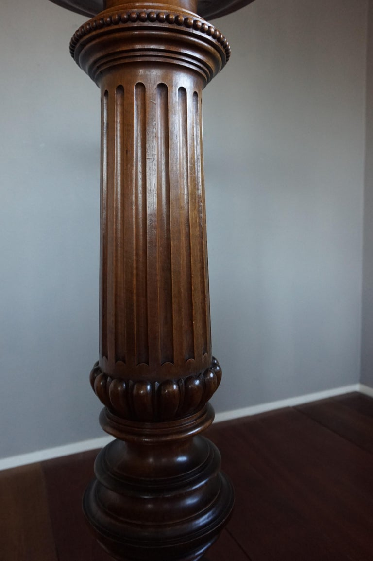 Antique Late 19th Century Hand Carved Solid Nutwood Round