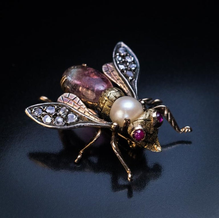 Victorian Antique Late 19th Century Jeweled Gold Insect Brooch For Sale