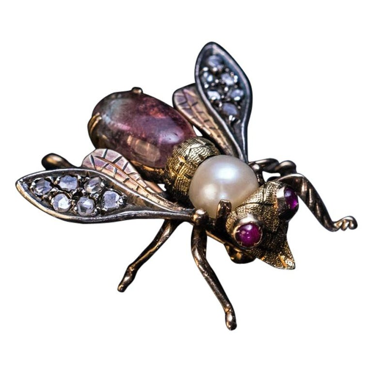 Antique Late 19th Century Jeweled Gold Insect Brooch For Sale