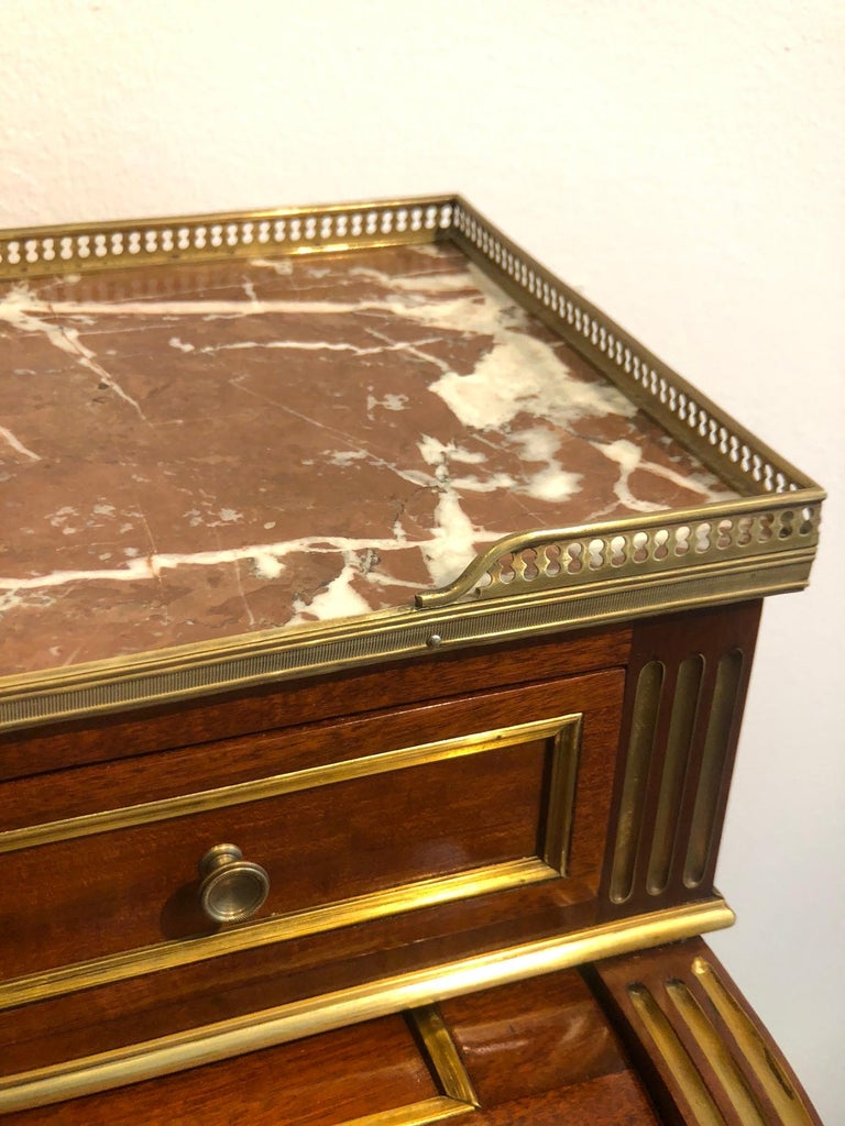 Antique Late 19th Century Louis XVI Cylinder Bureau Writing Desk from France For Sale 3