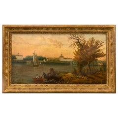 Antique Late 19th Century Original Oil Painting Landscape
