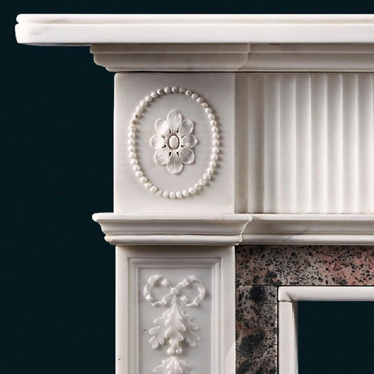 British Antique Late 19th Century Statuary and Tiree Marble Fireplace For Sale