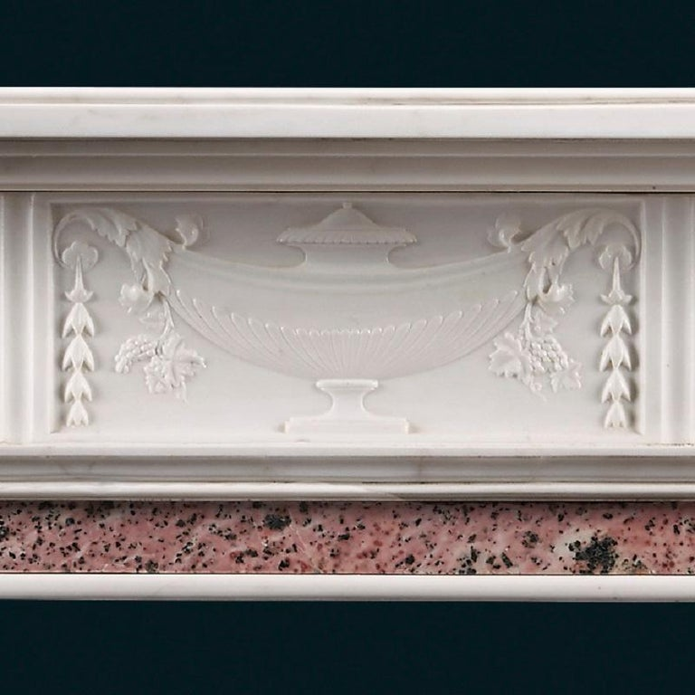 Carved Antique Late 19th Century Statuary and Tiree Marble Fireplace For Sale