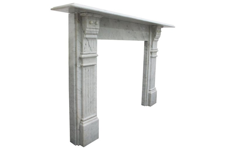 Antique Late 19th Century Victorian Carrara Marble Fireplace Surround In Good Condition For Sale In Manchester, GB