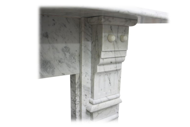 Antique Late 19th Century Victorian Carrara Marble Fireplace Surround For Sale 1