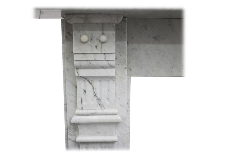 Antique Late 19th Century Victorian Carrara Marble Fireplace Surround For Sale 2