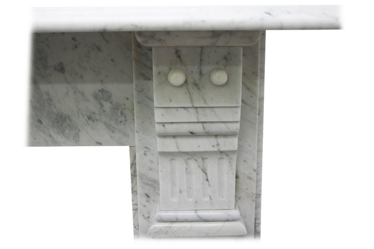 Antique Late 19th Century Victorian Carrara Marble Fireplace Surround For Sale 3