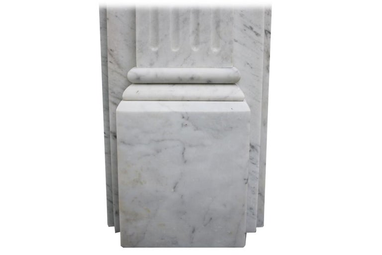 Antique Late 19th Century Victorian Carrara Marble Fireplace Surround For Sale 4