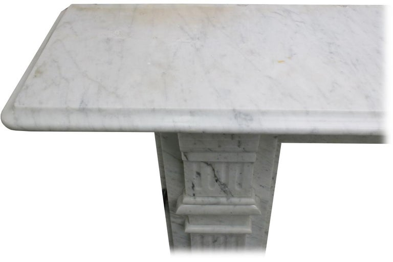 Antique Late 19th Century Victorian Carrara Marble Fireplace Surround For Sale 5