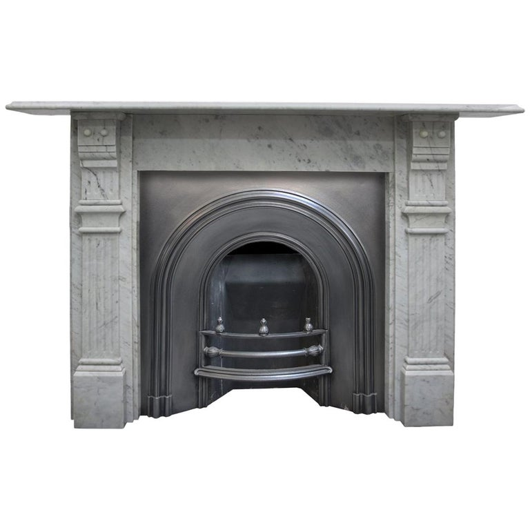 Antique Late 19th Century Victorian Carrara Marble Fireplace Surround For Sale