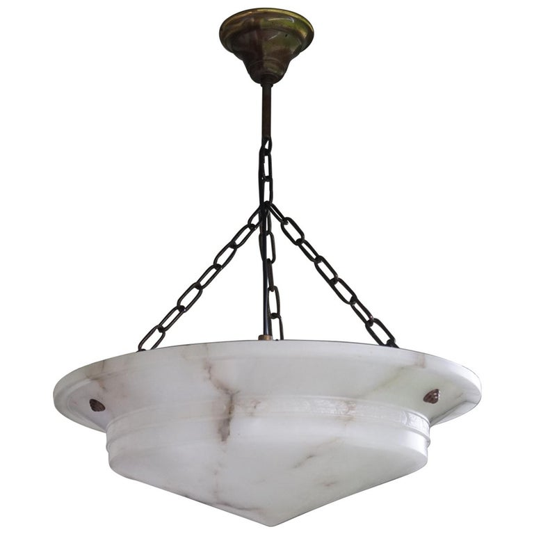 Antique Late Arts And Crafts Early Art Deco White Alabaster Pendant Or Chandelier For Sale At 1stdibs