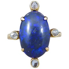 Antique Late Victorian Black Opal and Diamond Ring in 15 Carat Yellow Gold